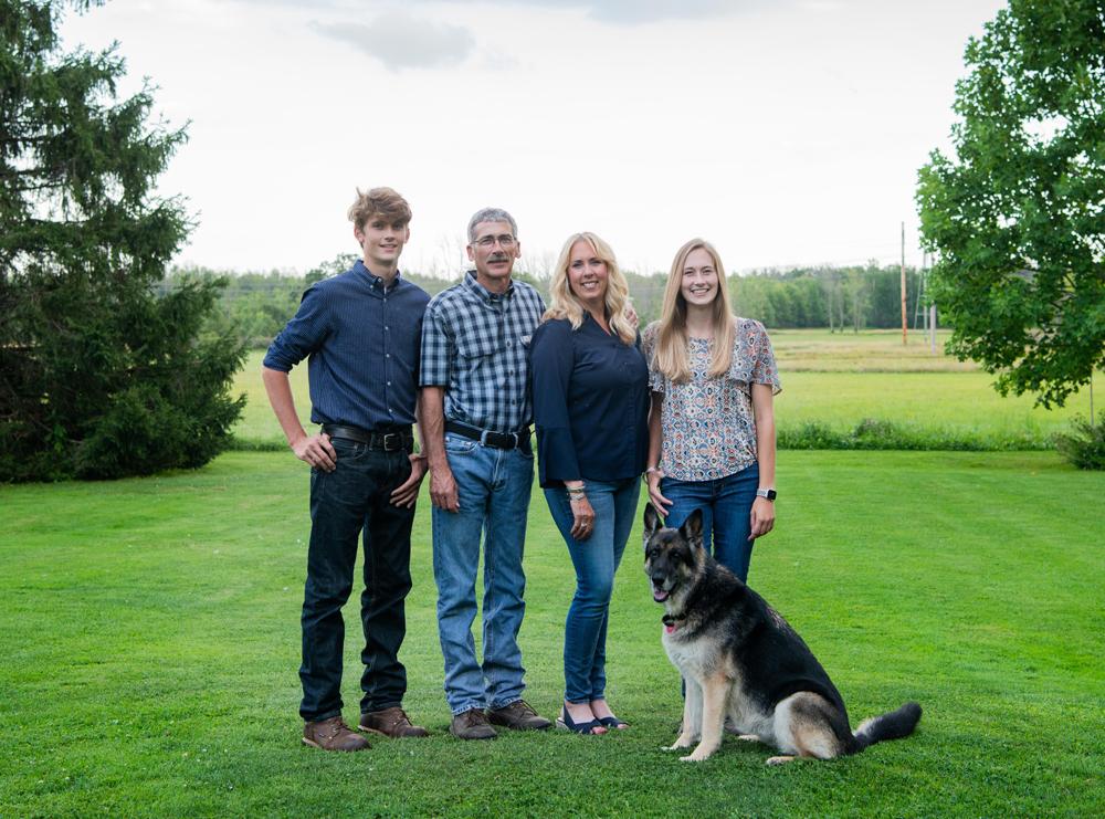 The Hanssen-Keyes family with dog Greta